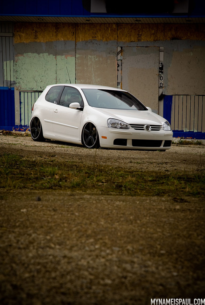 Bagged GTI with the wheels installed