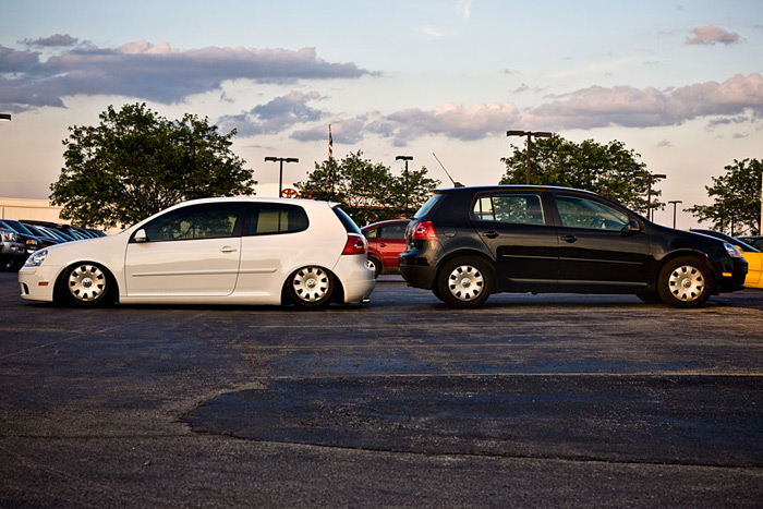 Bagged GTI on stock rims vs a normal GTI