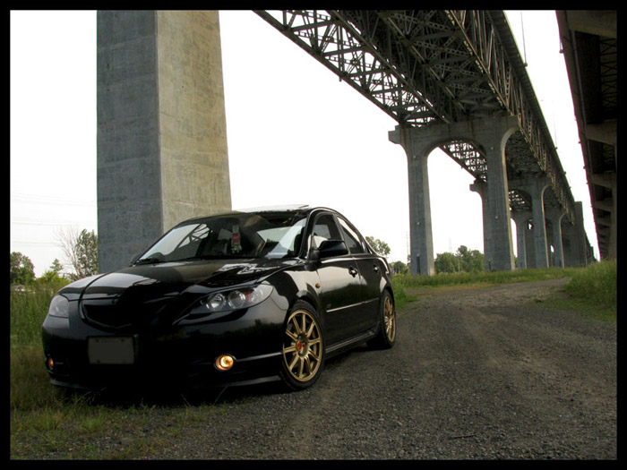 Mazda 3 owners are starting to play the one brands trash came as well, STI BBS wheels