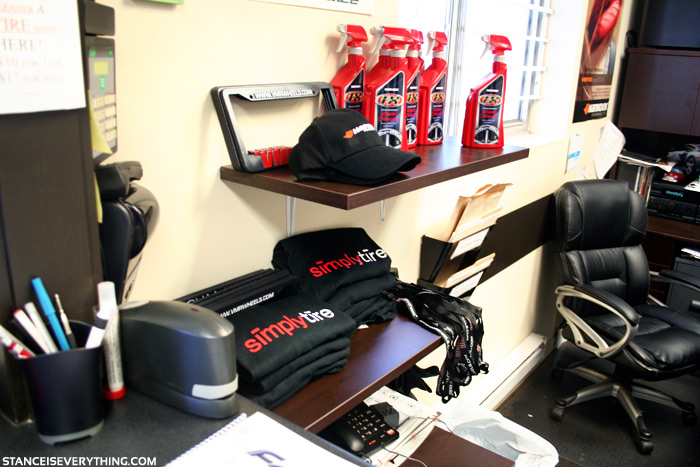 The Simply Tire office is full of  promo gear