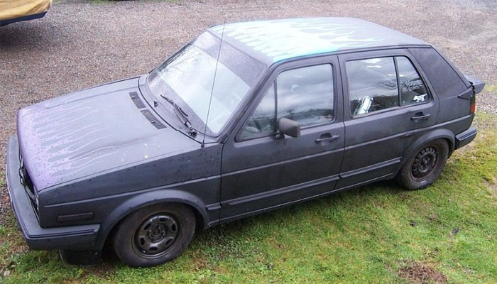Unsuspecting flat black mk2 with black flames