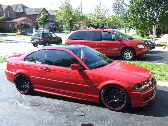 Red and black e46 from the Bimmersport crew