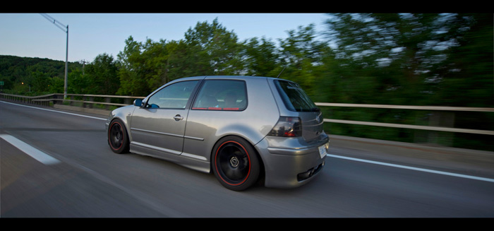 Slammed GTI rollin with the Chop Shop crew