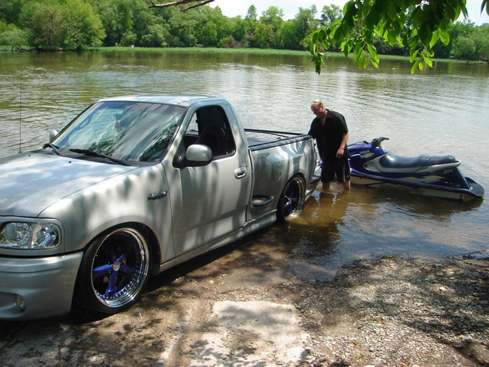 Even though its slammed the truck still launches Sea-doos fine