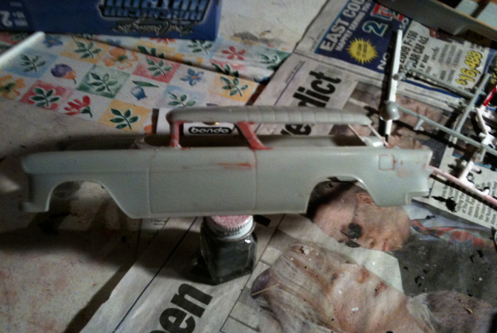 I've still got a lot of sanding left to do but automotive spot putty is working really well