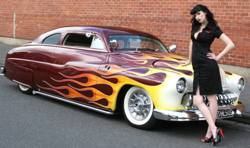 Classic car and pinup style