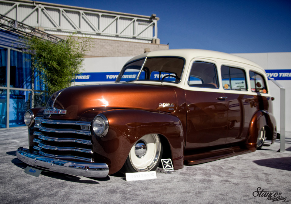 Spotted this beautiful example at SEMA in 2014. Love the Rootbeer paint job