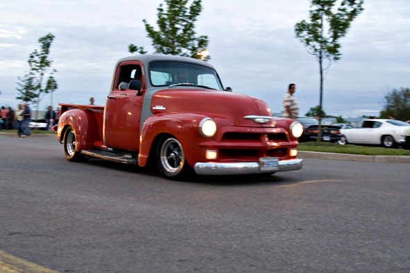 Though clearly unfinished you can't knock the stance or wheel and tire setup on this 52ish Chevy.