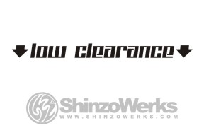 Version two of a low ground clearance sticker