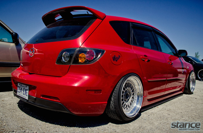 2013_stretch_and_poke_fitted_hard_sparkers_mazda_3_bbs_rear_three_quarter